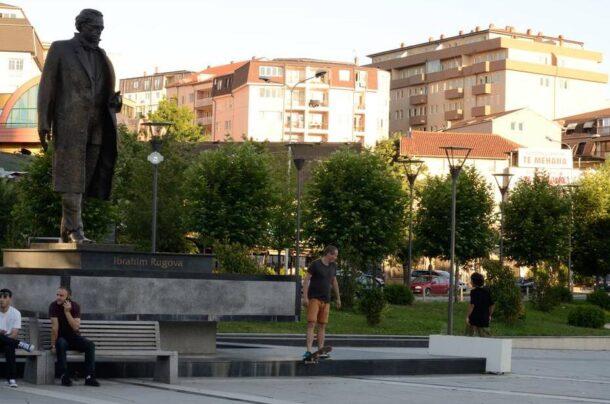 Rugova statue in Prishtina Kosovo